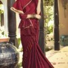Lycra maroon party wear saree with blouse fabric art silk maroon. Lycra saree has very beautiful and trending lace border pattern. Lycra sarees online at guranteed low prices in India.