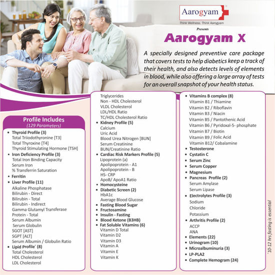 Aarogyam X profile which Consists of 129 Tests and Consists of basic tests for screening o...
