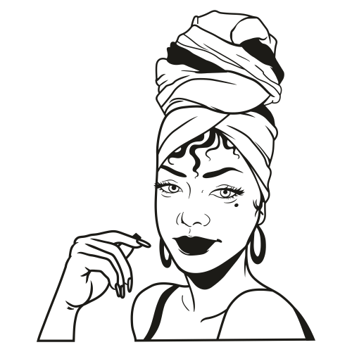 Afro Woman Turban Head Wrap SVG file available for instant download online in the form of ...