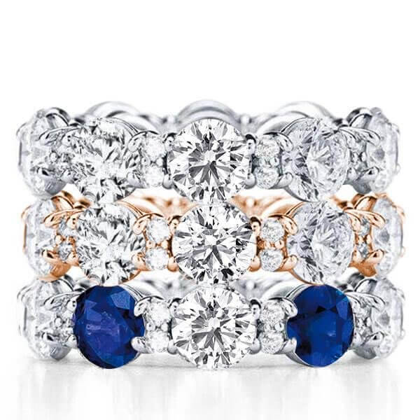 I found this beautiful item - Eternity Two Tone Created White Sapphire Stackable Band Set ...