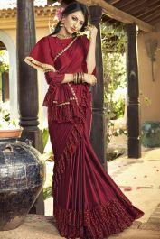 Lycra maroon party wear saree with blouse fabric art silk maroon. Lycra saree has very bea...