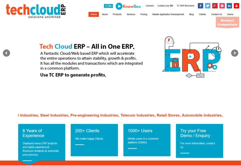 Tech Cloud ERP provides the best cloud based ERP software in India. Get real time insights...